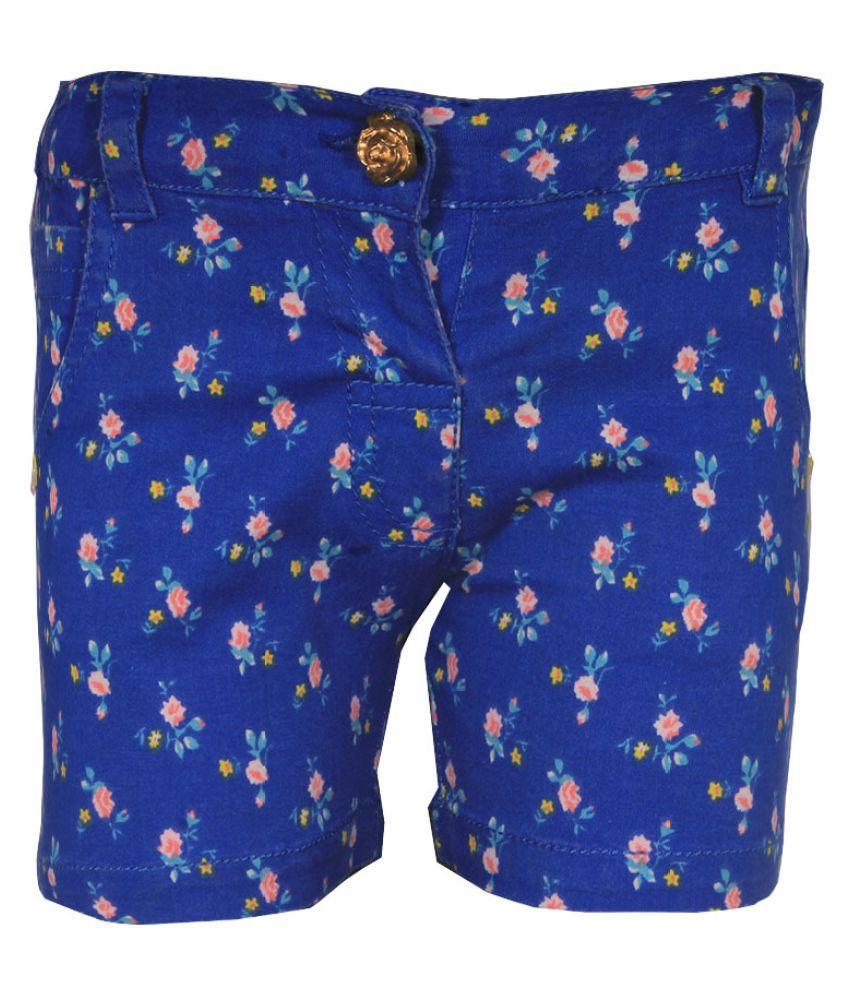 Gron Stockholm Girls Self Design Blue Shorts (GS-000091-BG-BLUE-12-18m, 12-18 Months)
