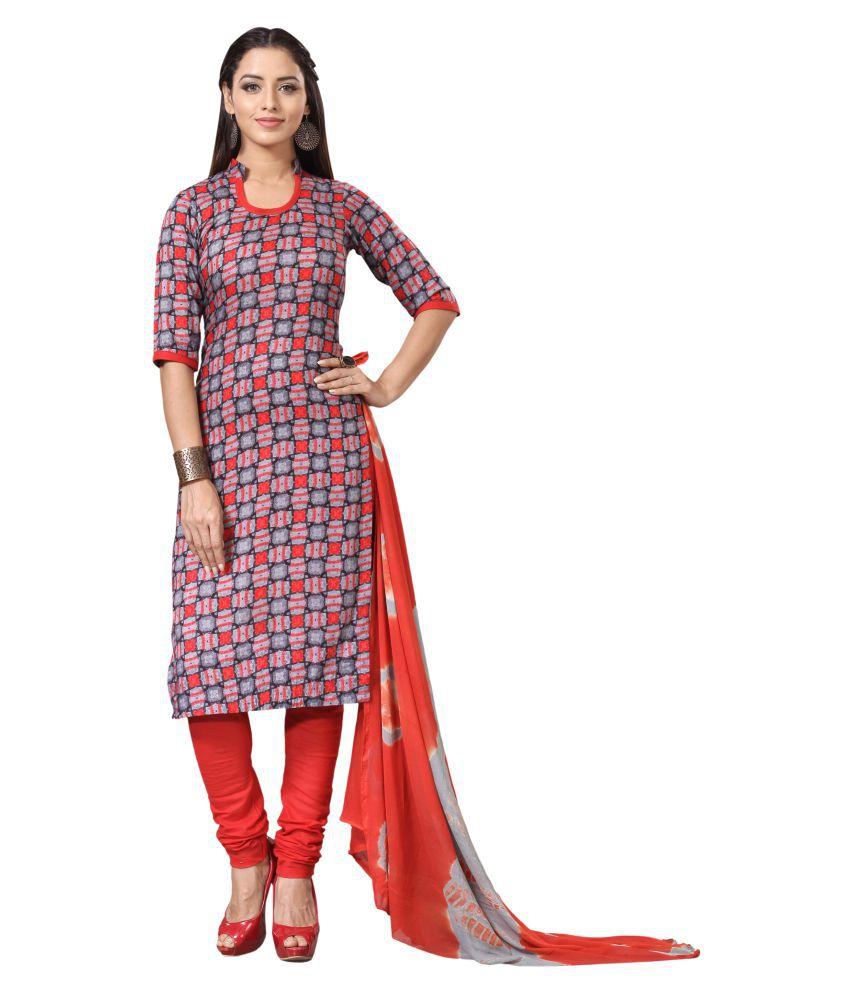 Swanvi Multicoloured Cotton Straight Stitched Suit