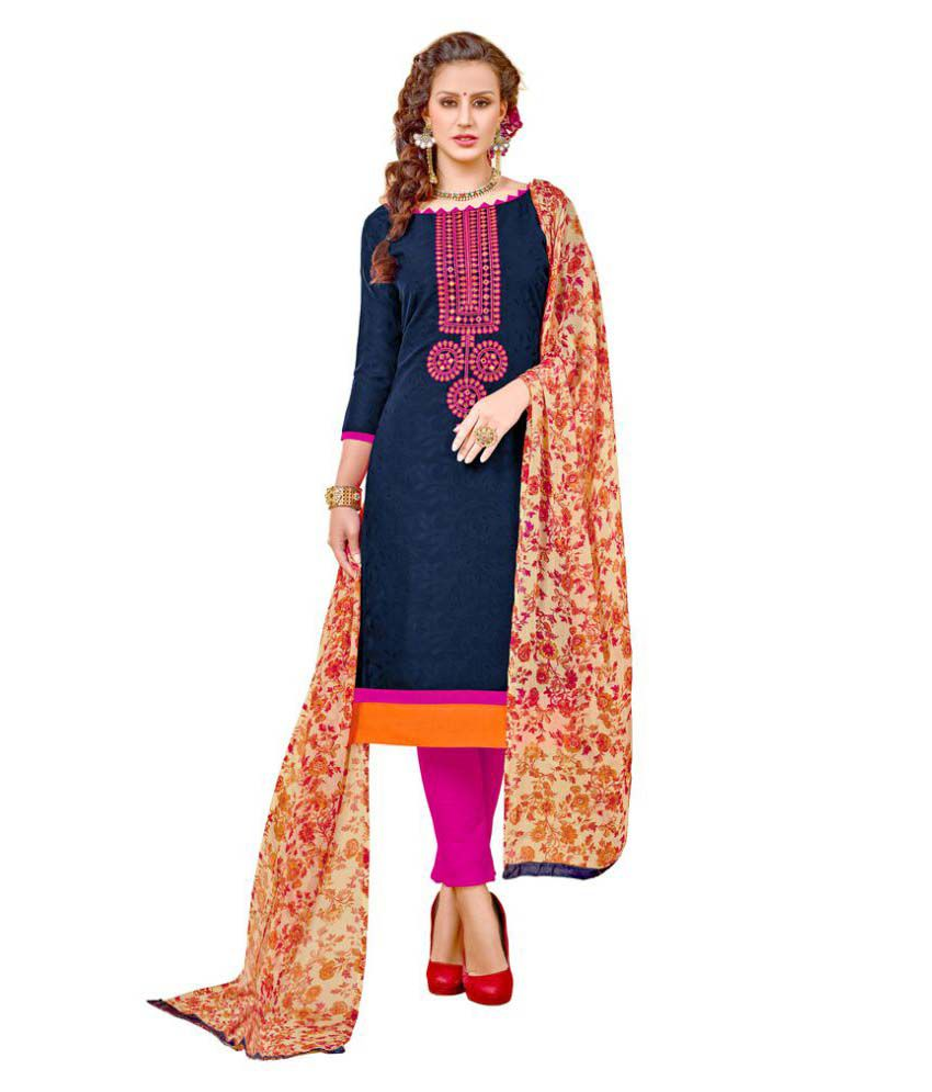 Viva N Diva Navy Jacquard Dress Material