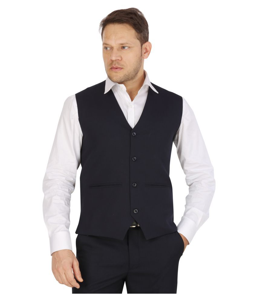 Eden Rose Navy Solid Formal Waistcoats