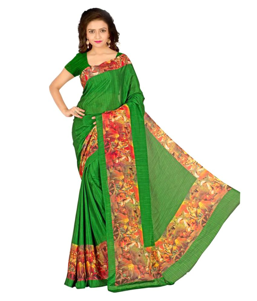Well Tex Green Silk Saree