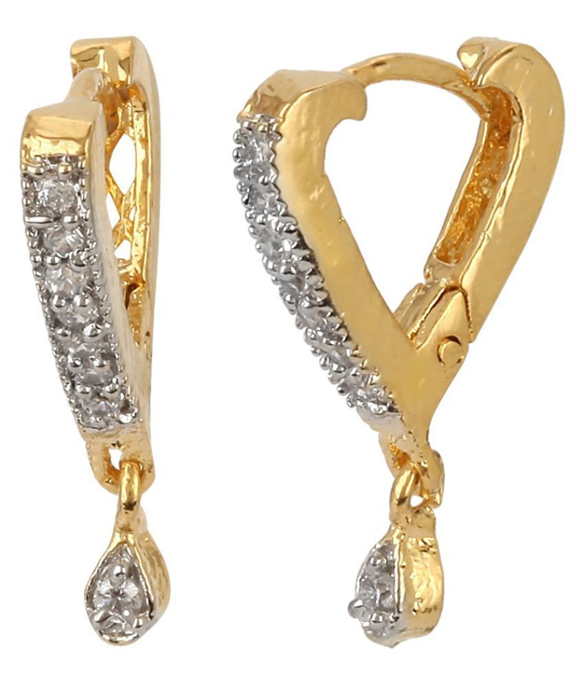 Renaissance Traders Casual Hit Daily Wear Gold American Diamond Bali Earrings