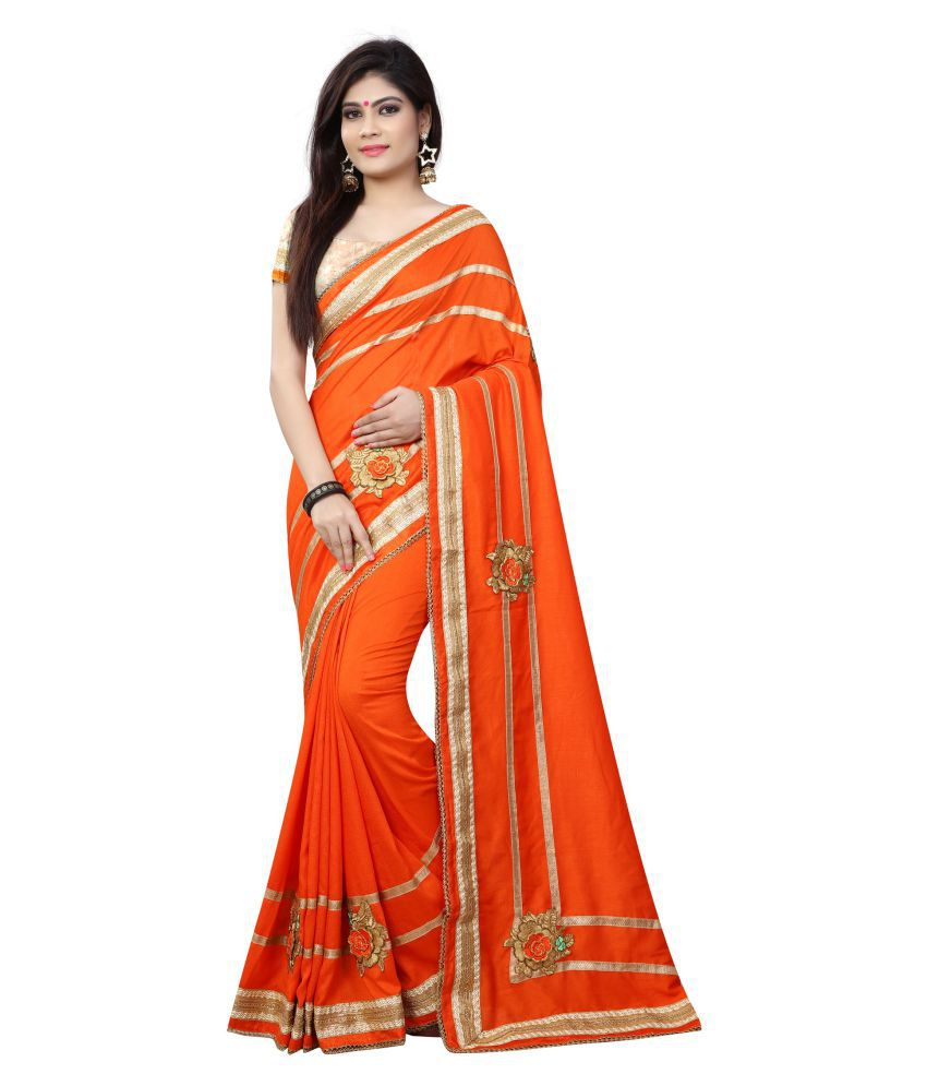 Avsar Prints Orange Chiffon Saree