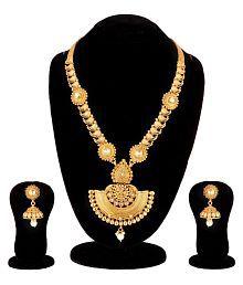 Apara South Indian Mango Design Long Haram Mala with Kundan and American Diamond for Women