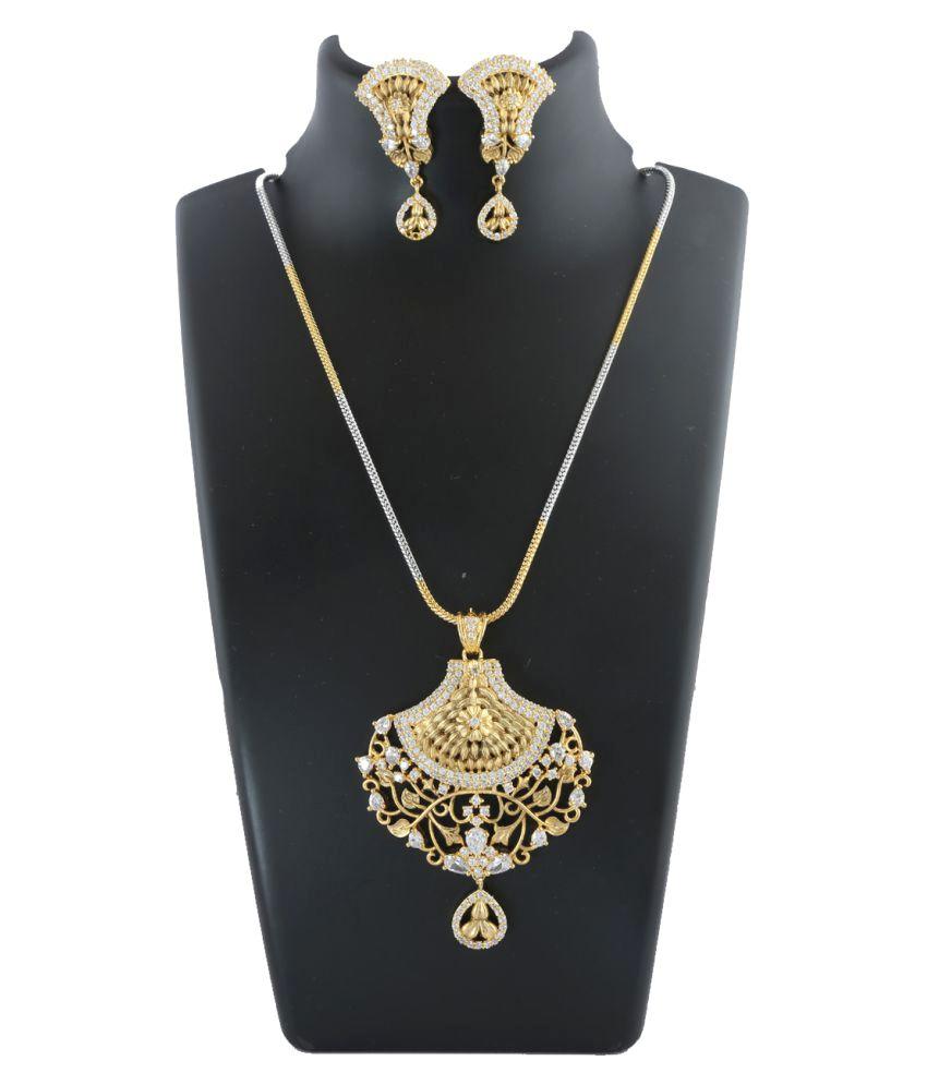 519ae4c4d Anuradha Art Golden Finish Stylish Designer Wonderful Studded Shimmering American  Diamonds Stone Pendant Set For Women/Girls: Buy Anuradha Art Golden Finish  ...