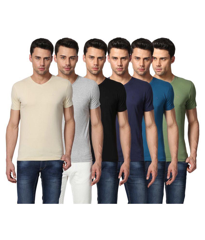 Goat Multi V-Neck T-Shirt Pack of 6