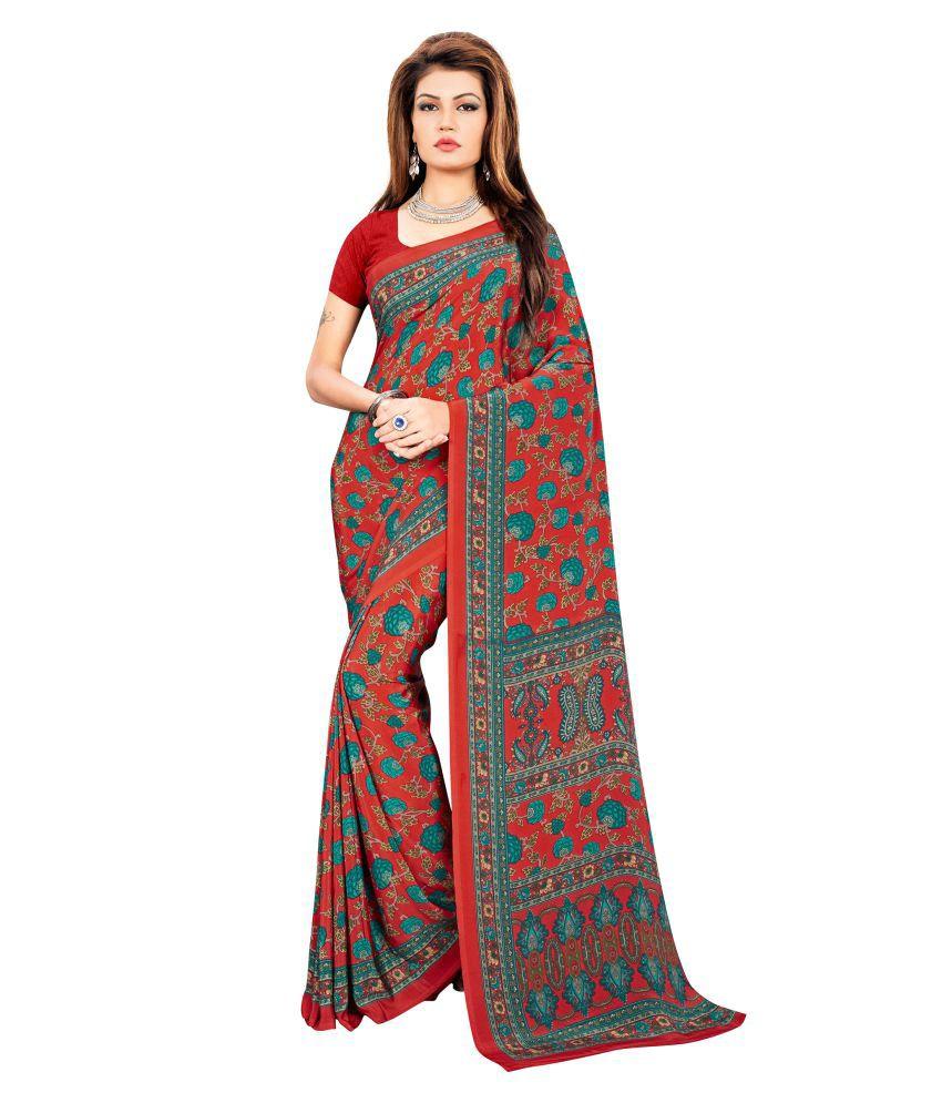 Jheenu Multicoloured Crepe Saree
