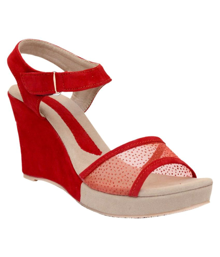 Atist Red Wedges Heels