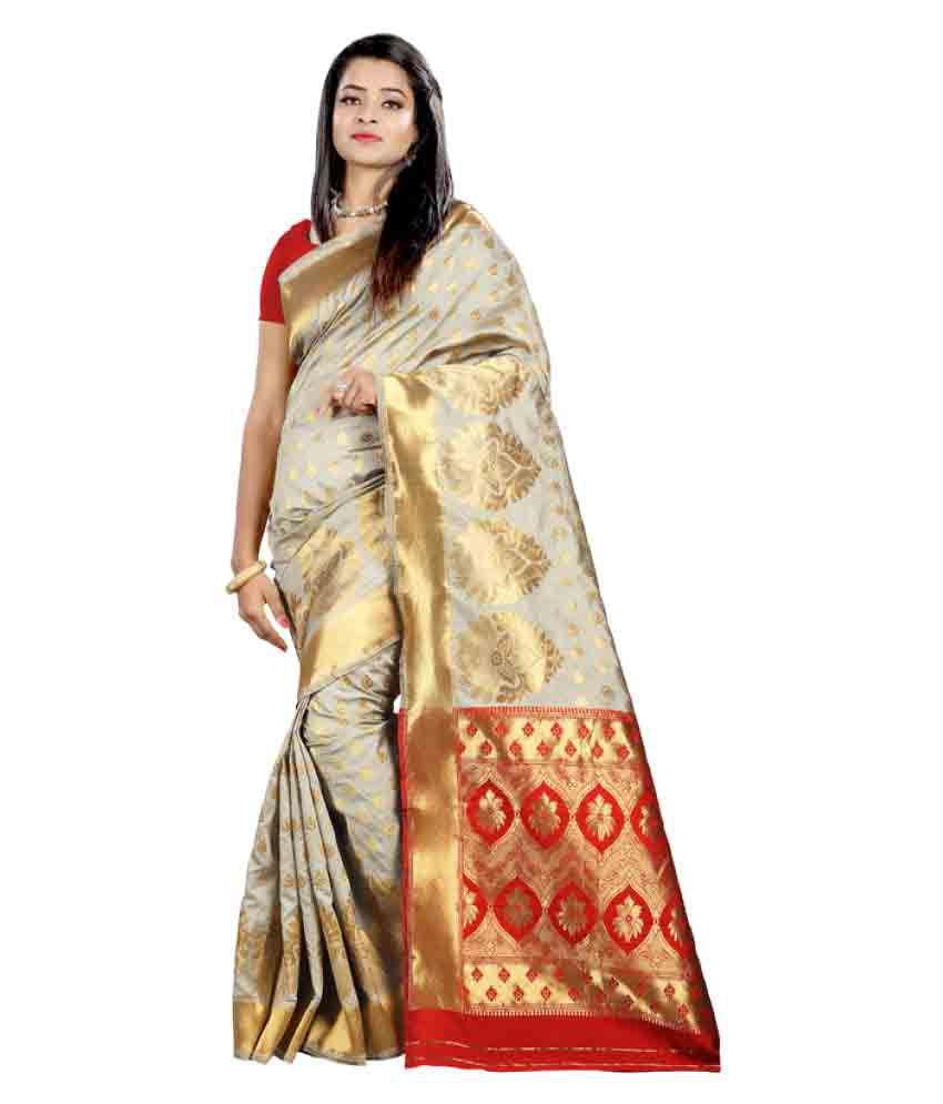Saloni Designer Grey Banarasi Silk Saree