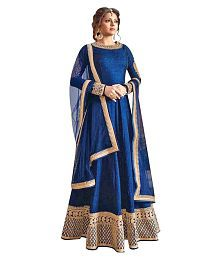 YOYO FASHION Blue Bangalore Silk Anarkali Semi-Stitched Suit
