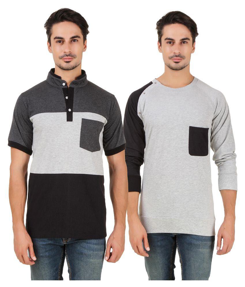 Aurelio Marco Multi Round T-Shirt Pack of 2