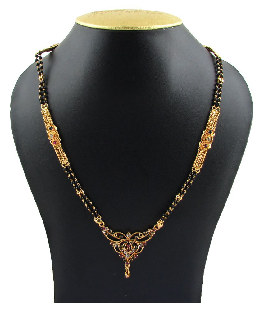Indian Mangalsutra 22K Gold Plated Black Beads 26