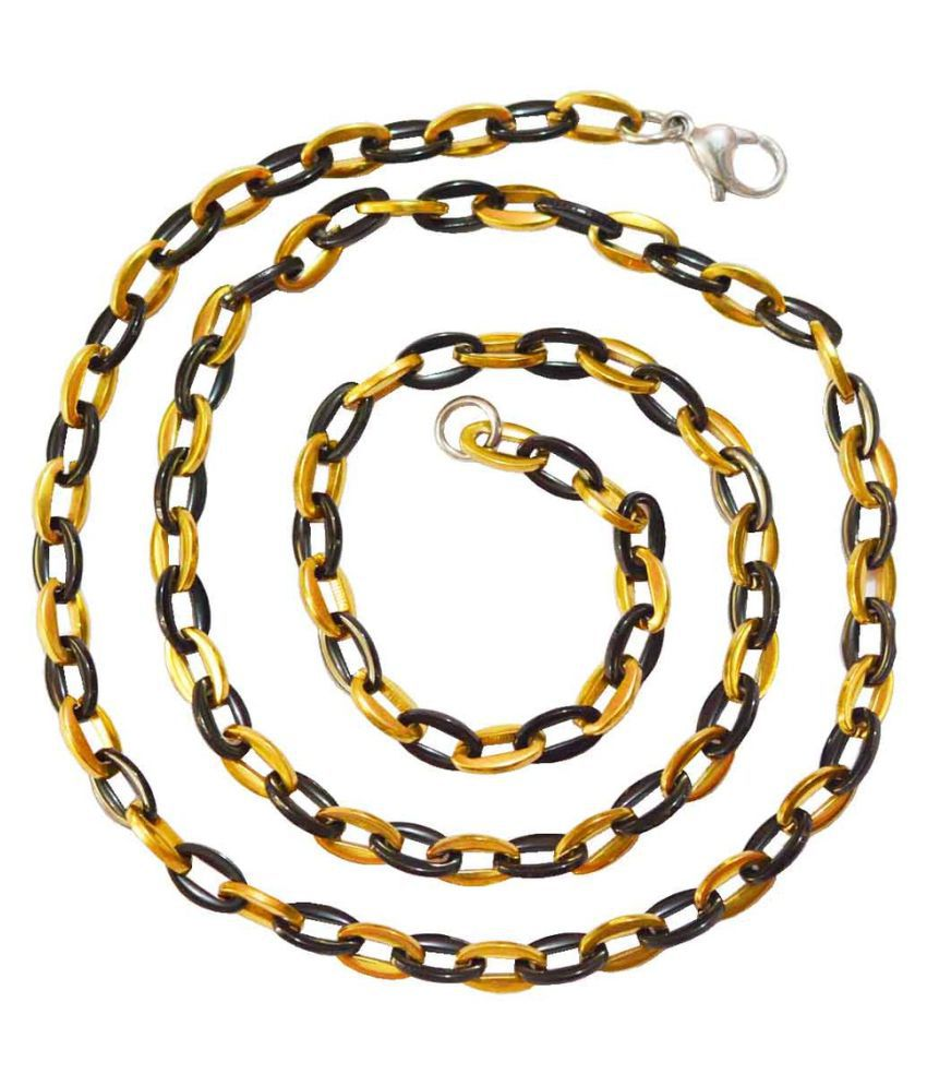 Shiv Jagdamba Oval Shaped Dual Color 5mm Thick and 540mm Long Black and Gold Stainless Steel Link Chain For Men and Women