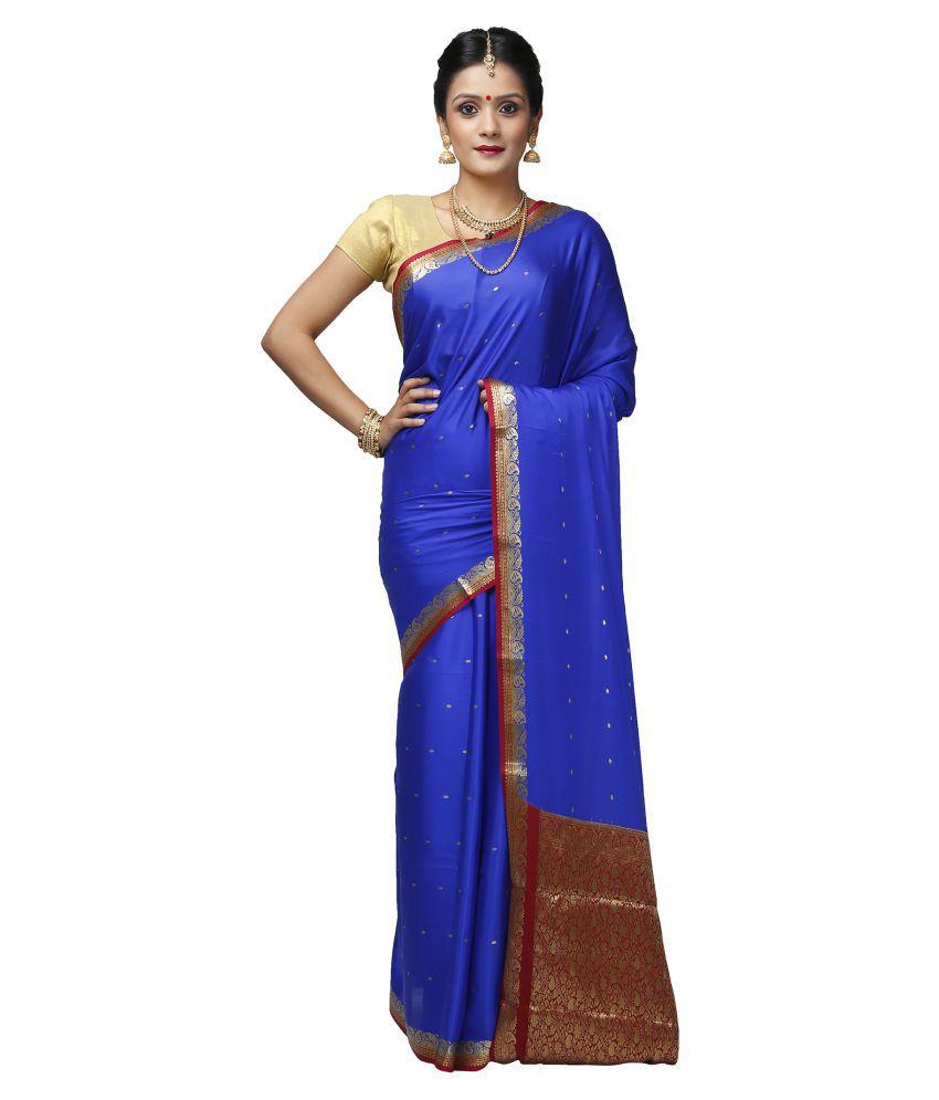 India Sari House Blue Silk Saree