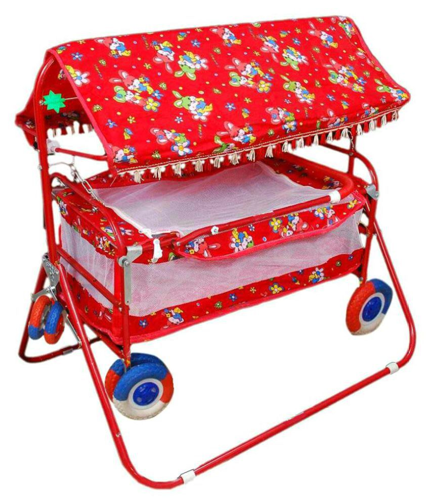 A AND PRODUCTS BABY CRADLE RED WITH HOOD & WHEELS