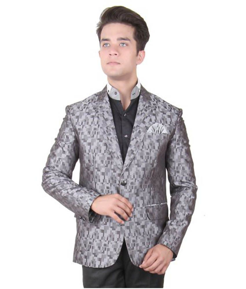 La Rainbow Silver Printed Party Blazers