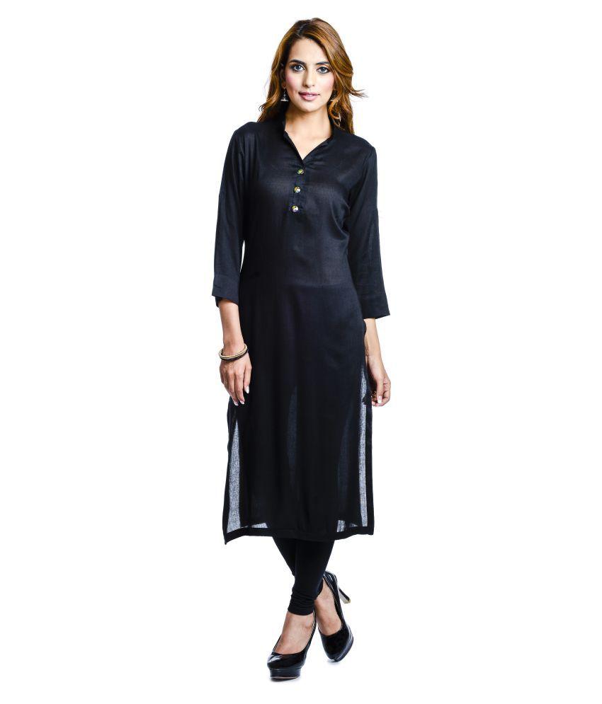 CL Designer Black Rayon Straight Kurti