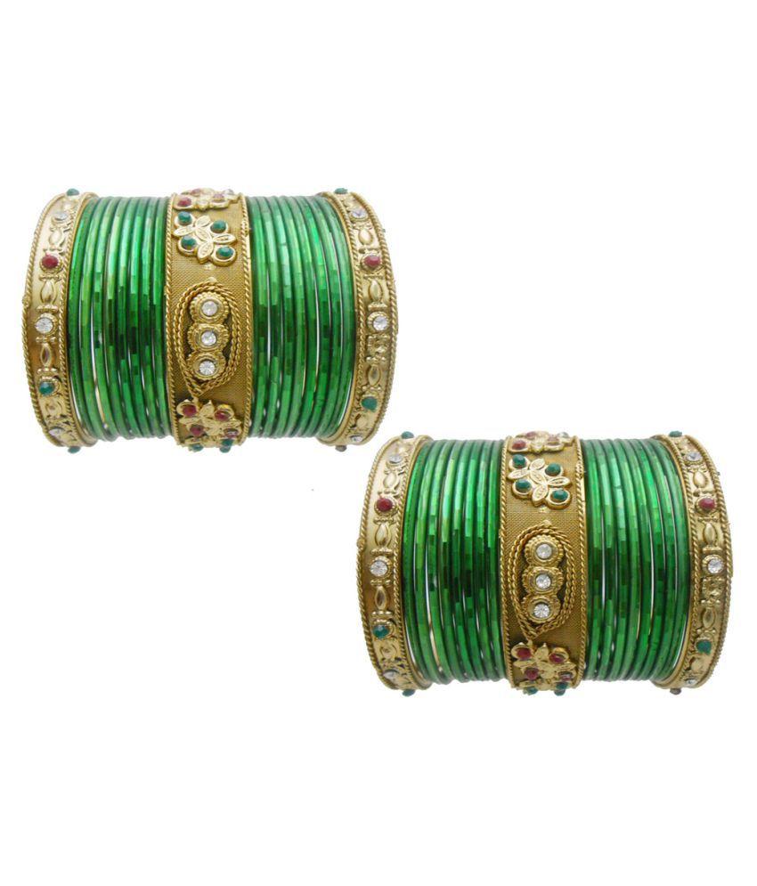 My Design Green Wedding Bangles Chura For Women And Girls(Size-2.4)
