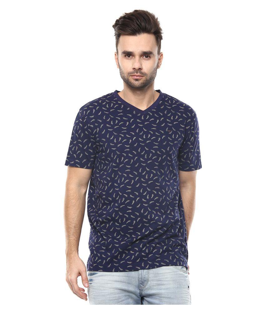 Spykar Navy V-Neck T-Shirt