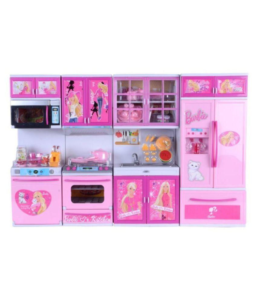 Captivating Param Barbie Dream House Kitchen Set Kids Luxury Battery Operated Kitchen  Super Set Toy 4 Pcs (Large)