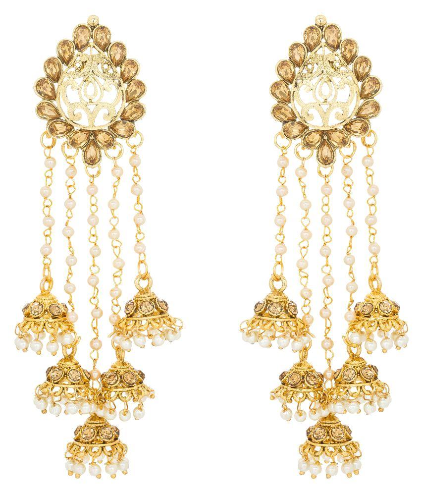 The Luxor Designer Golden Jhumki Tel Earrings