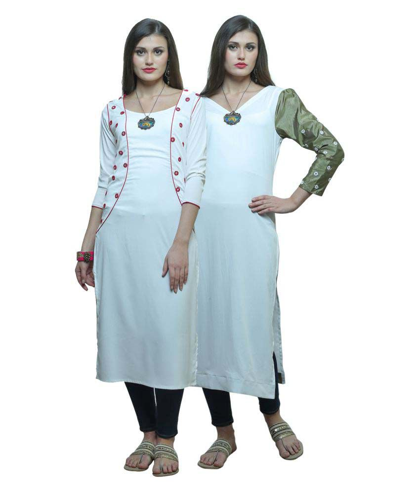 Color Opera Kreation Off White Crepe Straight Kurti