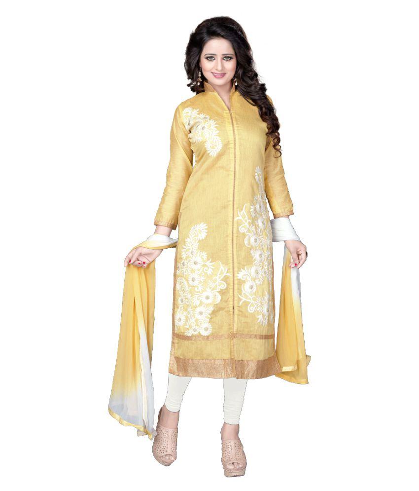 Fabkarts Fashion Yellow Cotton Dress Material