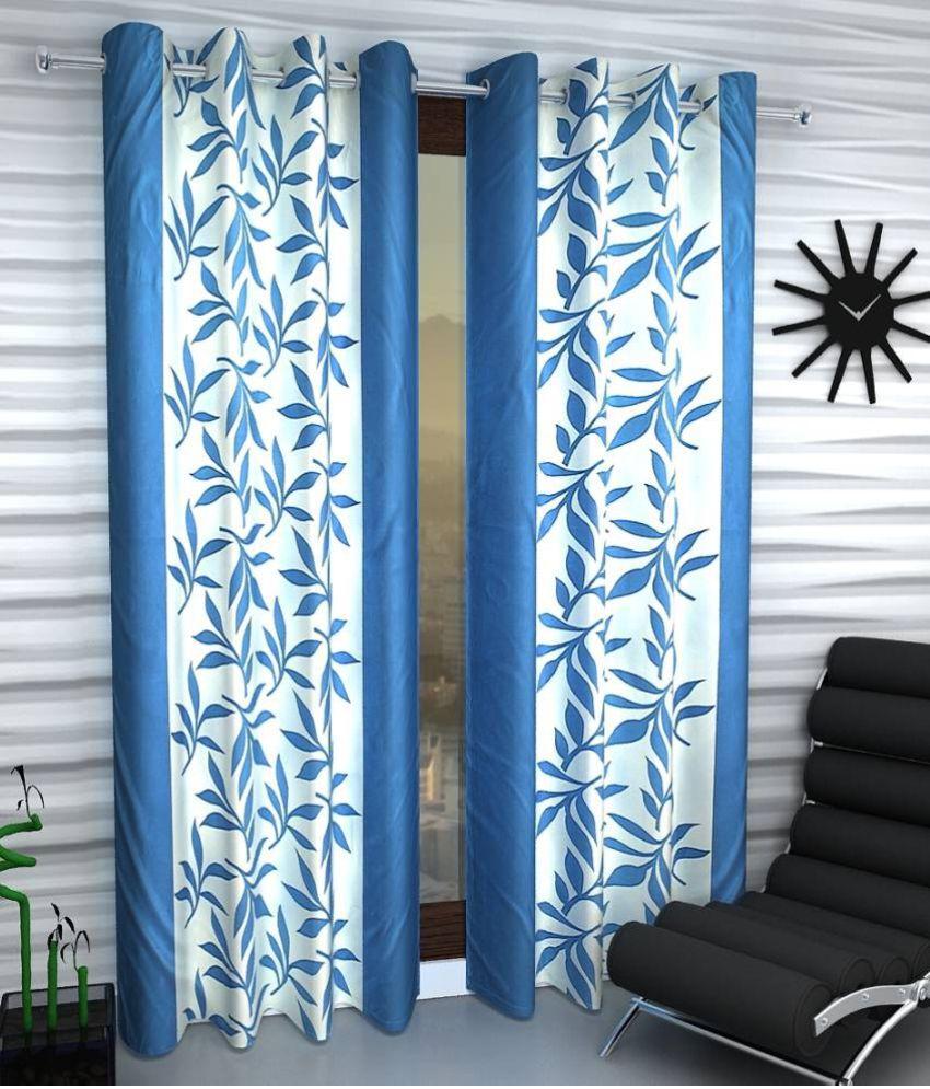 Tanishka Fabs Set of 2 Door Eyelet Curtains Printed Multi Color
