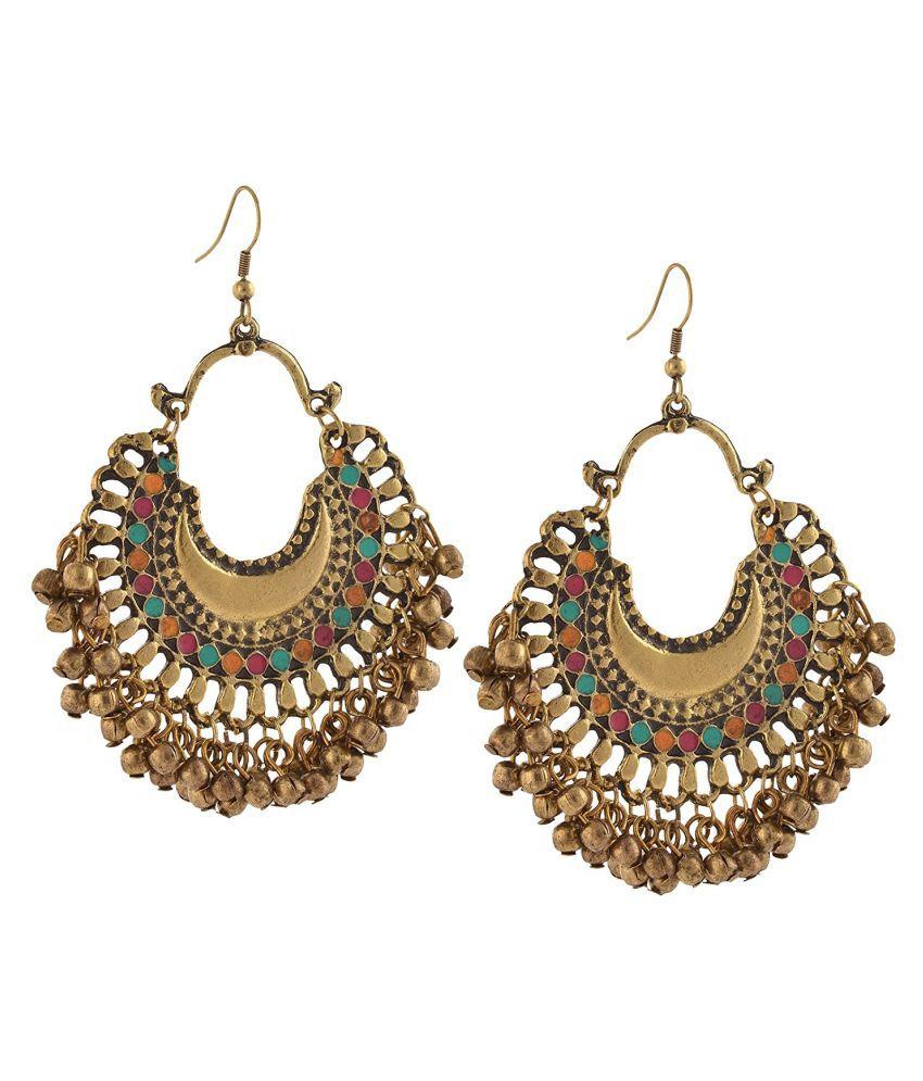 Aarav Fashion German Silver Ethnic Beaded Chandbali Hook Earrings for Women