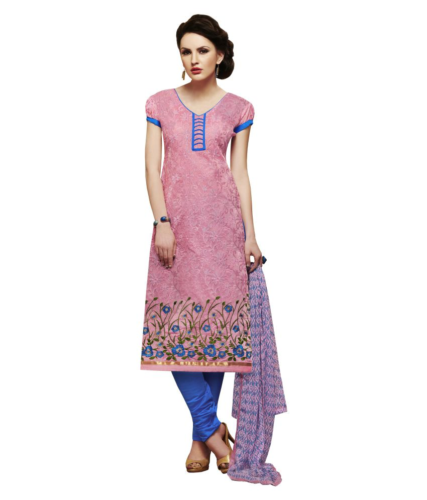 Gopalvilla Pink Chanderi Dress Material
