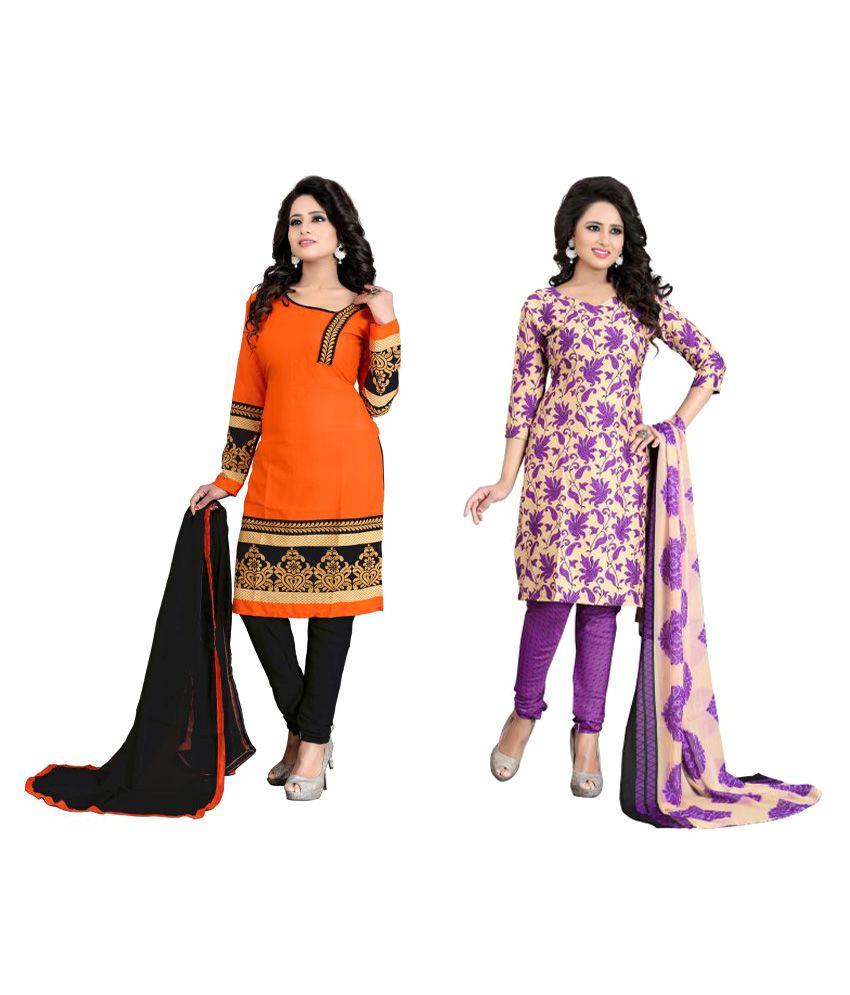 Shop Clothy Multicoloured Polycotton Dress Material