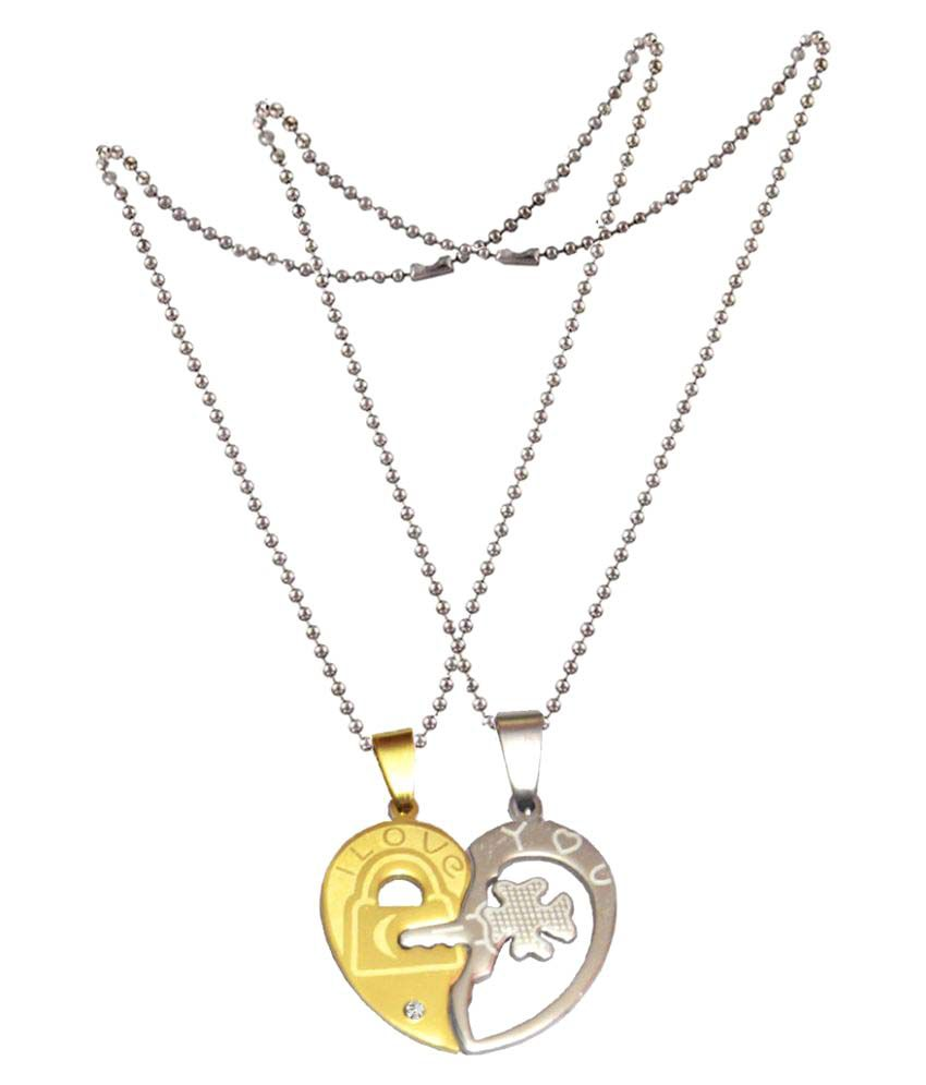 Shiv Jagdamba Love His and Hers Couples Gift Heart I Love You Flower Key Couple Necklace Set for Lover Valentine Silver and Gold Stainless Steel Heart Necklace Pendant For Men And Women