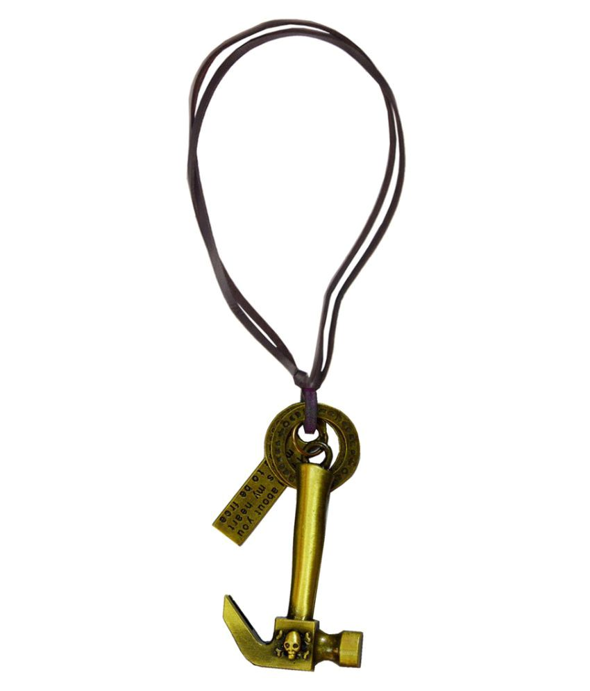 Shiv Jagdamba Skull Hammer Gold Bronze And Leather Jesus Cross Necklace Pendant For Men And Boys