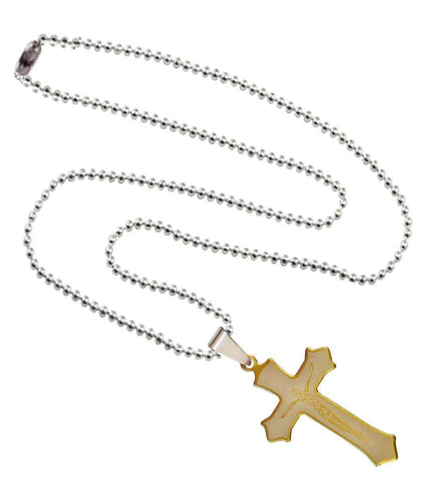 Shiv Jagdamba Religious Jesus Cross SPn3044 Gold Stainless Steel Cross Necklace Pendant For Men and Women