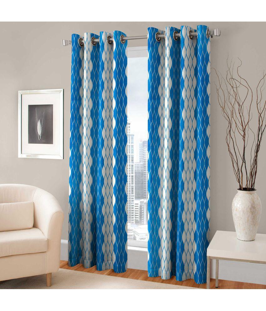 Shri Shyam Furnishing Set of 2 Door Eyelet Curtains Abstract Aqua