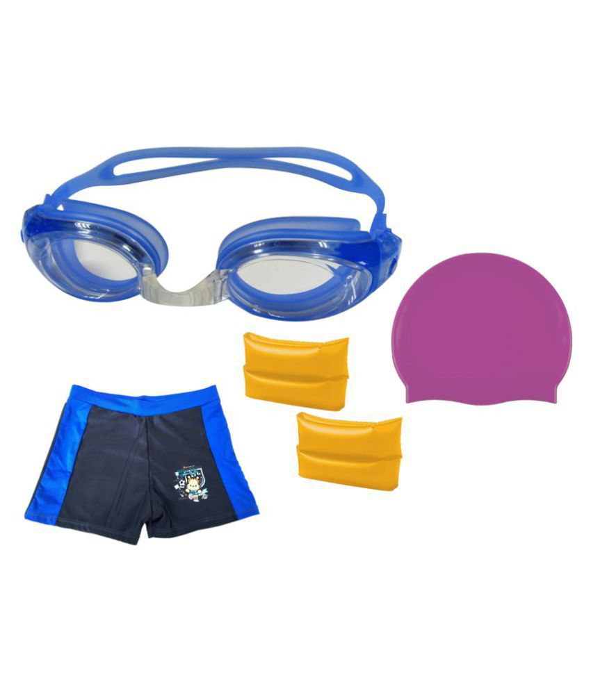 Gold Dust Swimming Goggles, Silicone Cap, ArmBand with Swim Shorts for 6-12 Year Child/ Swimming Costume