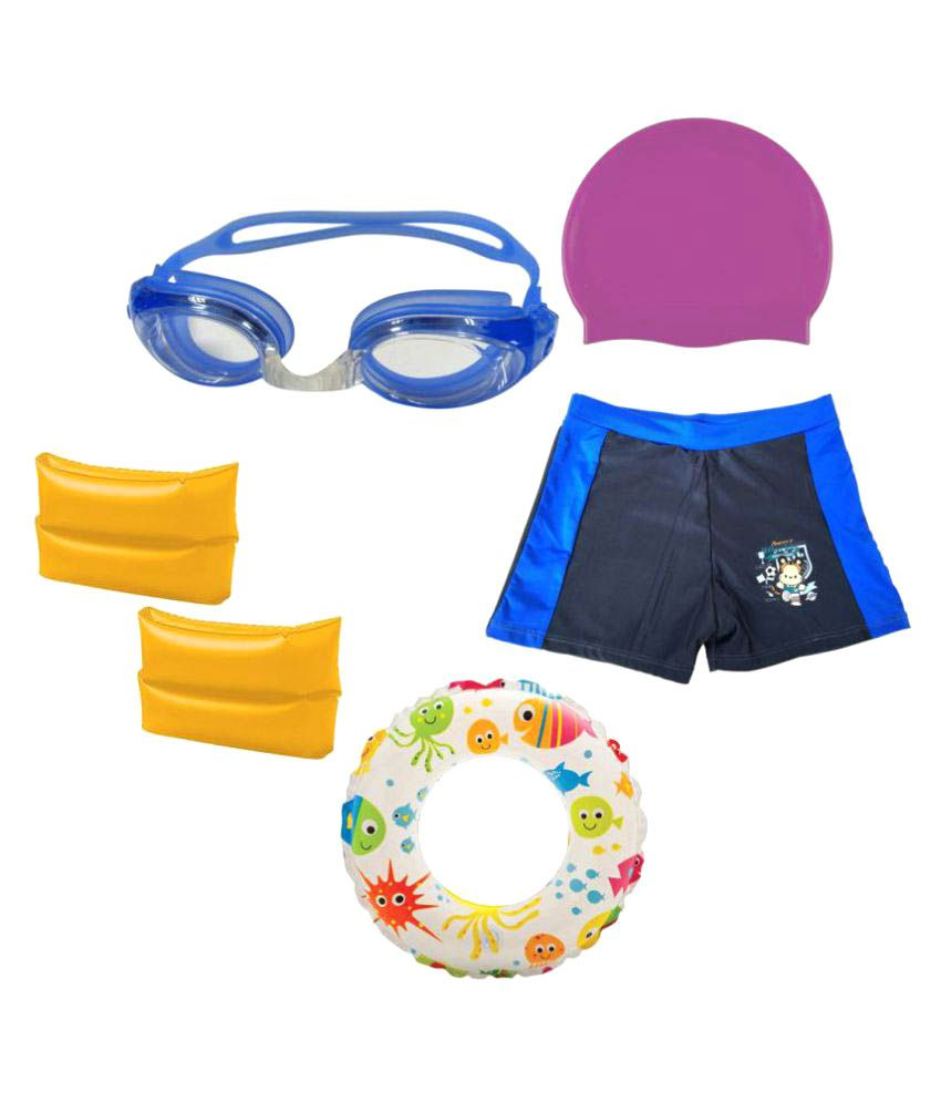 Gold Dust Swimming Goggles, Silicone Cap, ArmBand, Swim Ring, Swim Shorts for 6-12 Year Child/ Swimming Costume