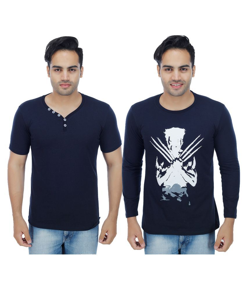 Sanvi Traders Navy Round T-Shirt Pack of 2