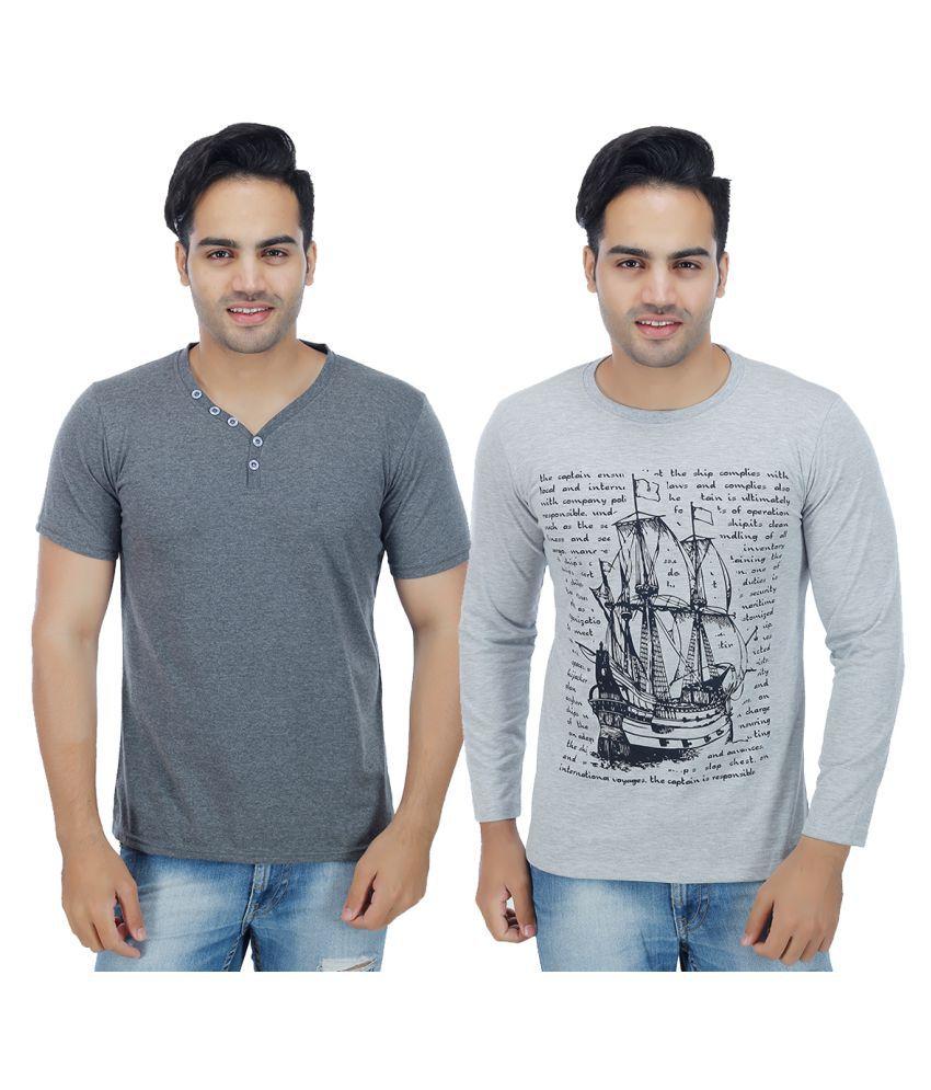 Sanvi Traders Grey Round T-Shirt Pack of 2