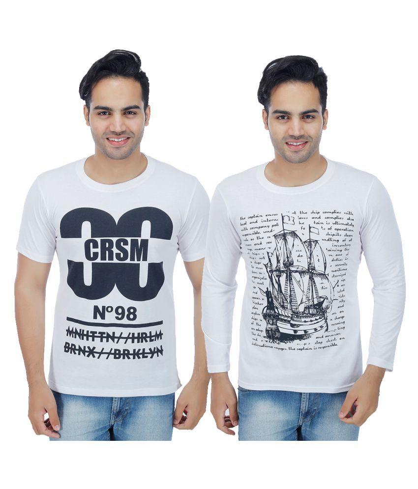 Sanvi Traders White Round T-Shirt Pack of 2