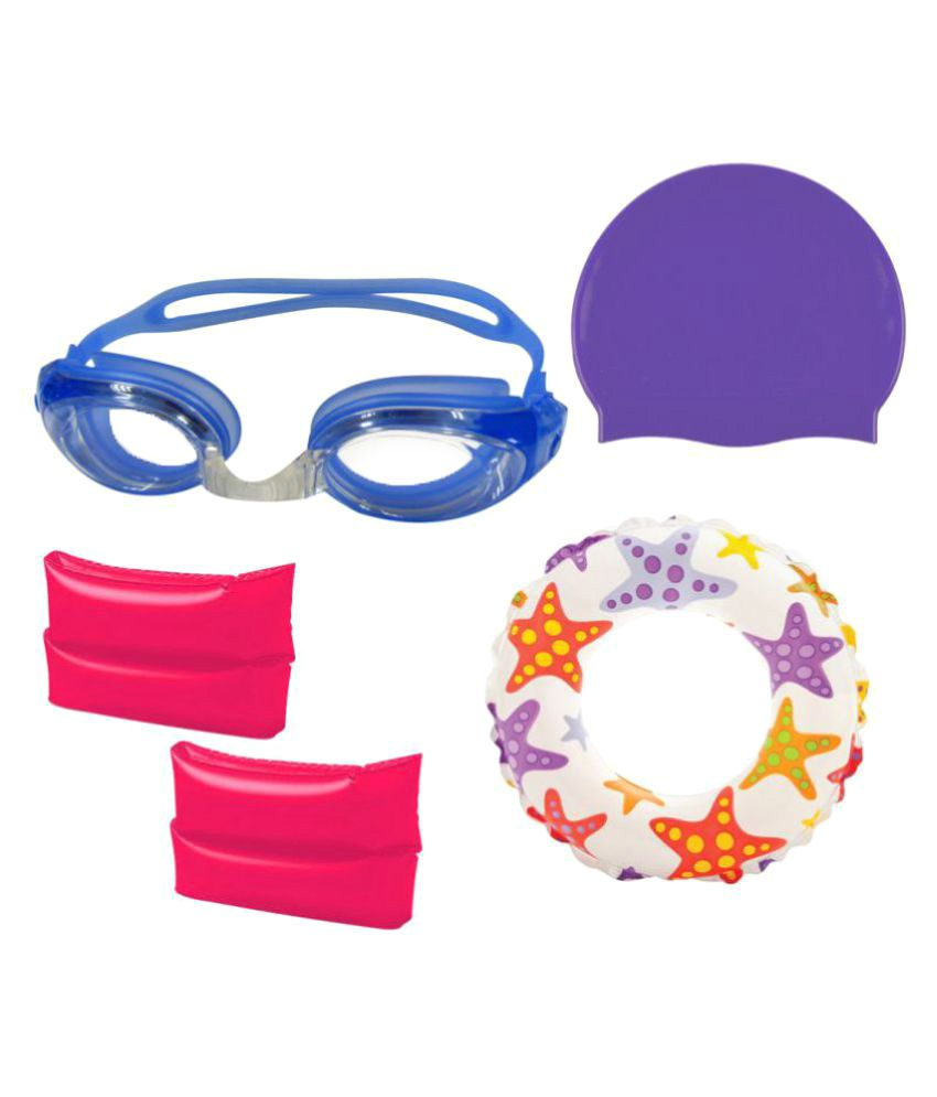 Gold Dust Combo of Swimming Goggles, Silicone Cap and ArmBand Swim Ring