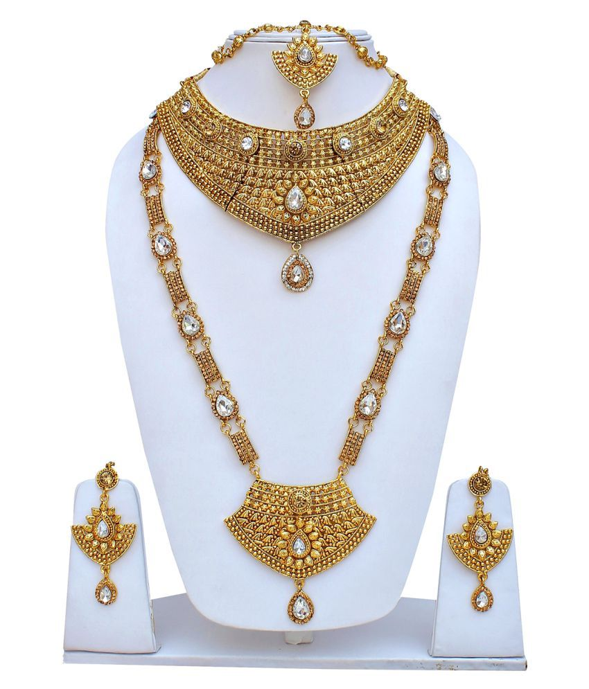 c19f73005c ... Lucky Jewellery for bride Golden Alloy Copper Type LCT White Stones Wedding  Bridal Jewellery Necklace Set ...