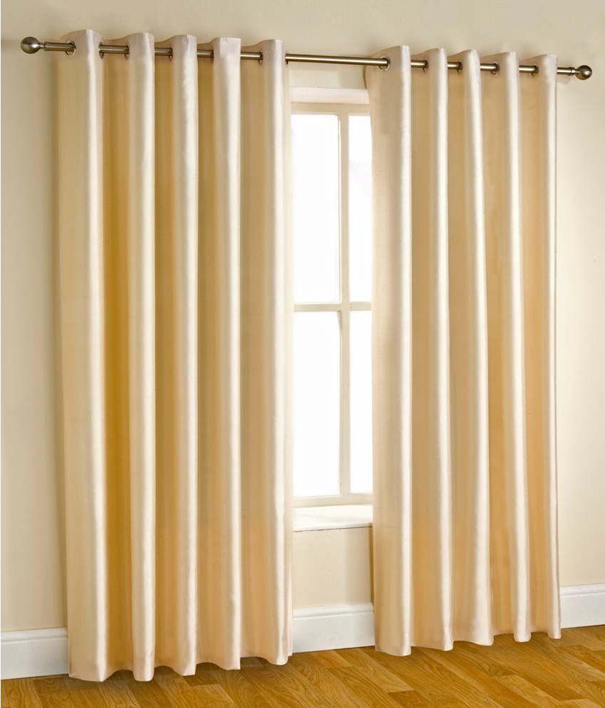 Shri Shyam Furnishing Set of 2 Door Eyelet Curtains Abstract Beige