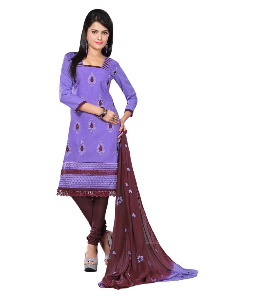 Minu Purple Cotton Dress Material