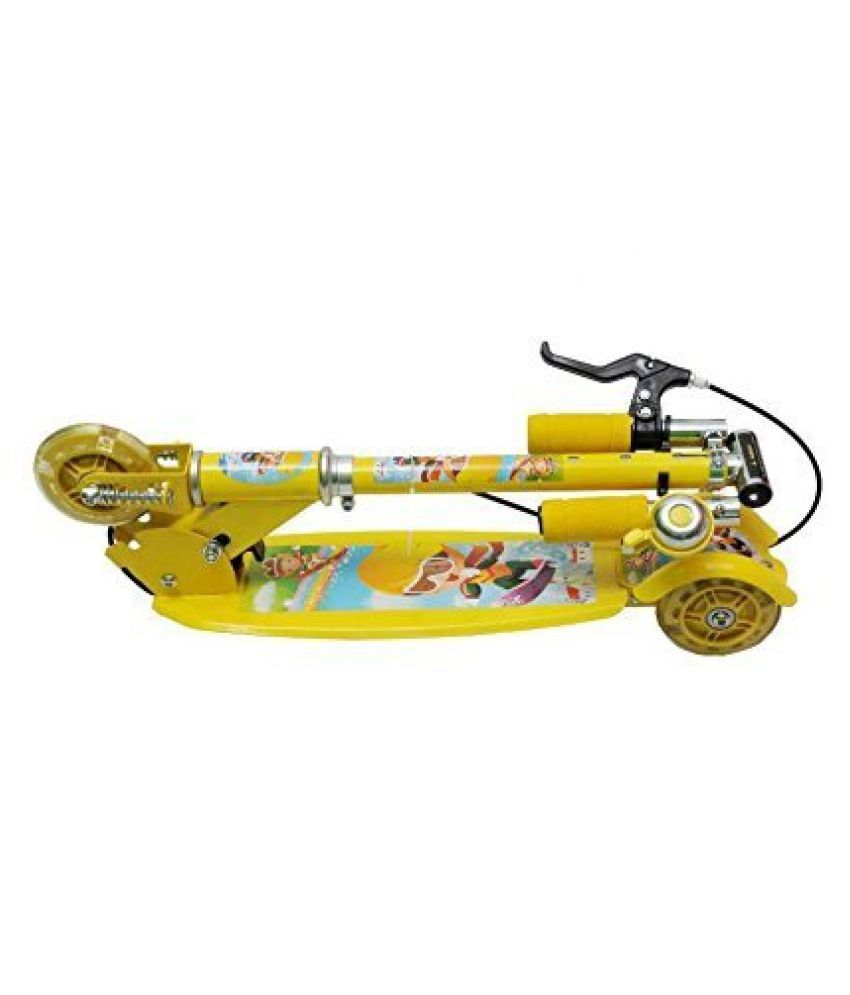 1b8cafba05b ... Param Kids Foldable 3 Wheeler Cycle Height Adjustable with Hand break  and Bell-Yellow ...