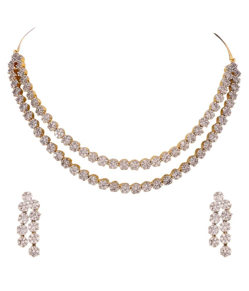 6b4c4e39815 Ratnavali Jewels American Diamond CZ Gold Plated Designer Jewellery Set   Necklace Set With Chain   Earring For Girls Women (RVA102) - Buy Ratnavali  Jewels ...