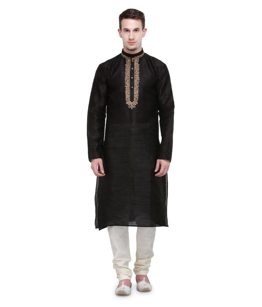 RG Designers Black Silk Blend Kurta Pyjama Set