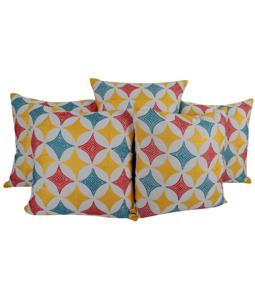 Rajrang Set of 5 Cotton Cushion Covers 45X45 cm (18X18)