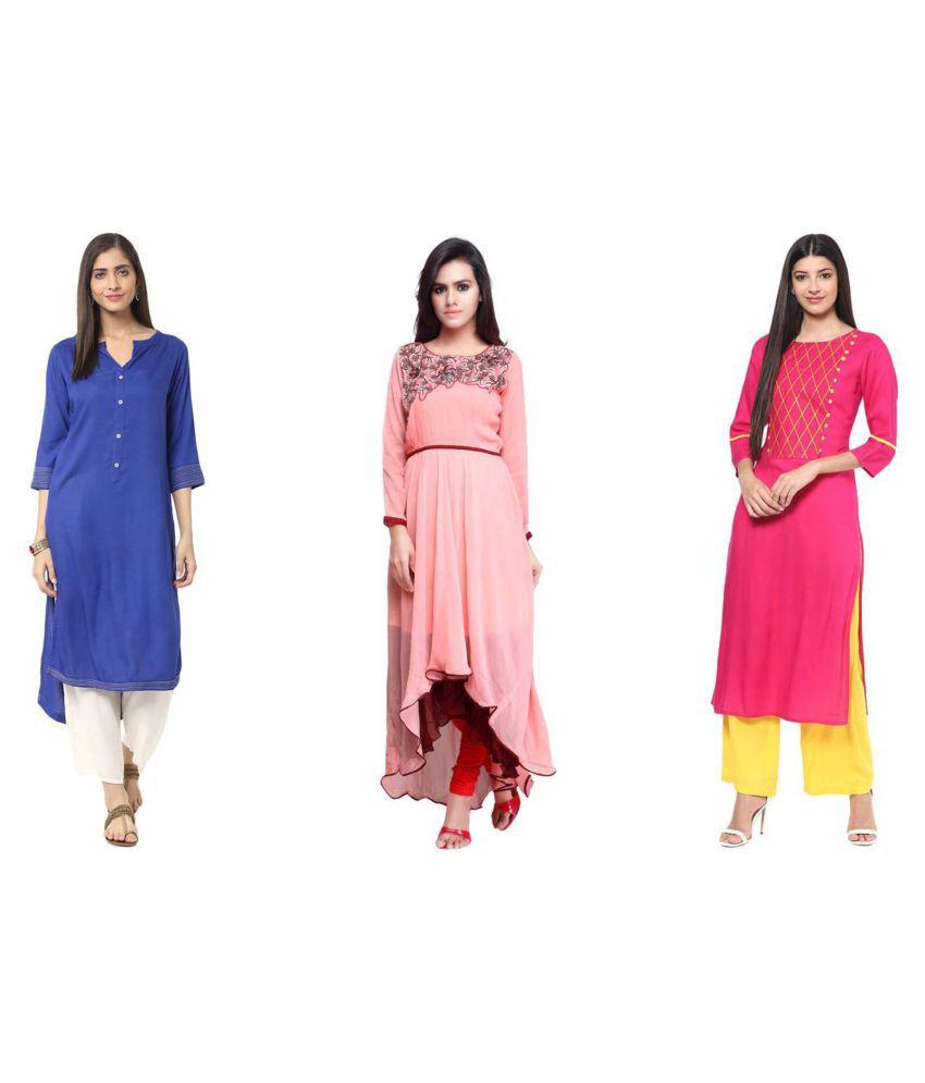 Kisna Fab Multicoloured Cotton Straight Kurti