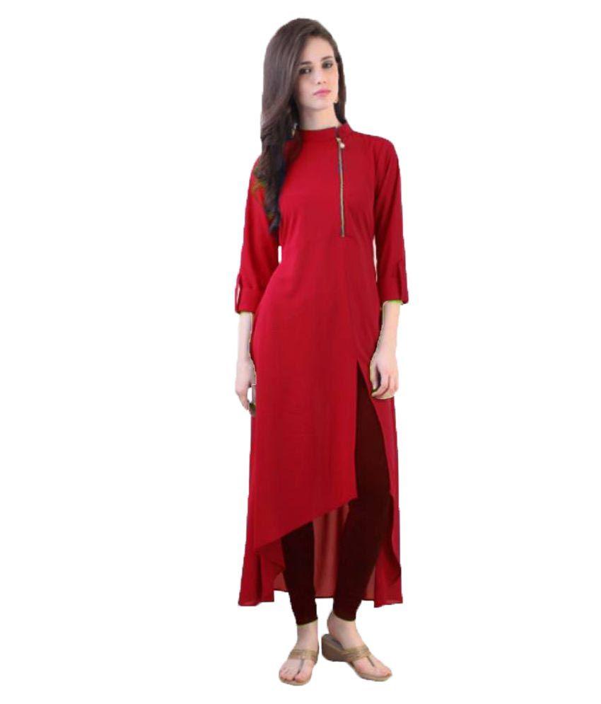 Aainu Collection Red Crepe Asymmetrical Hemline Kurti